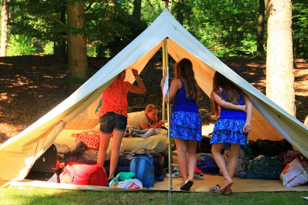 kinderen met slaapzakken in een tent