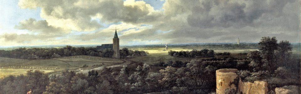 Jacob van Ruisdael, Landschap met kasteelruïne en kerk, 1665-1670